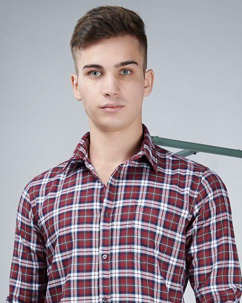 Maroon broad check shirt