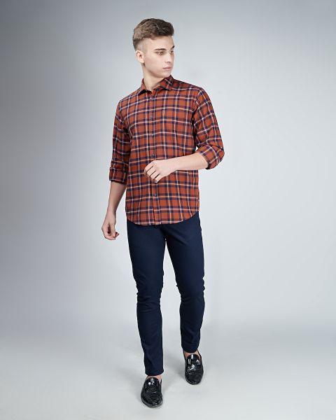 Orange Navy Check Shirt
