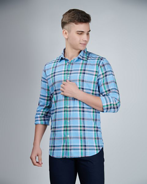 Blue with Green Checked Shirt