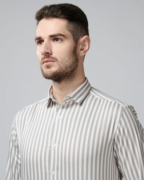 White & Grey Thick Stripe Printed Shirt VYMAG