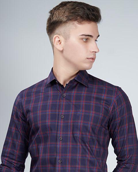 Versatile purple check shirt