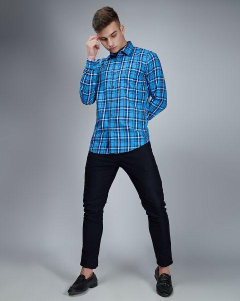 Slim Fit Blue White Checked Shirt