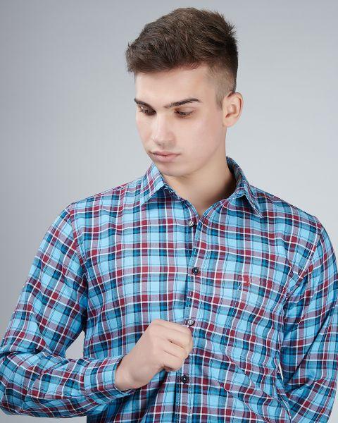 Slim Fit Blue Checked Shirt