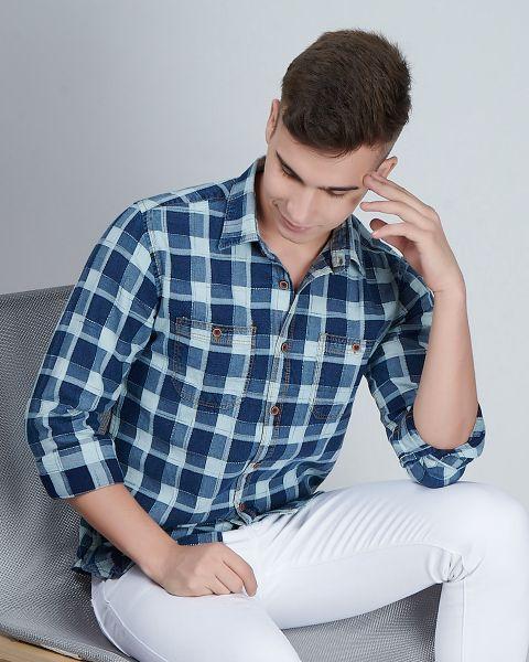 Indigo Denim Blue Check Shirt