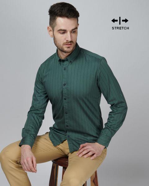 VYMAG Basic Stretch Olive Stripe Shirt