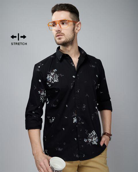 Black Multi-colour Flower Printed Shirt