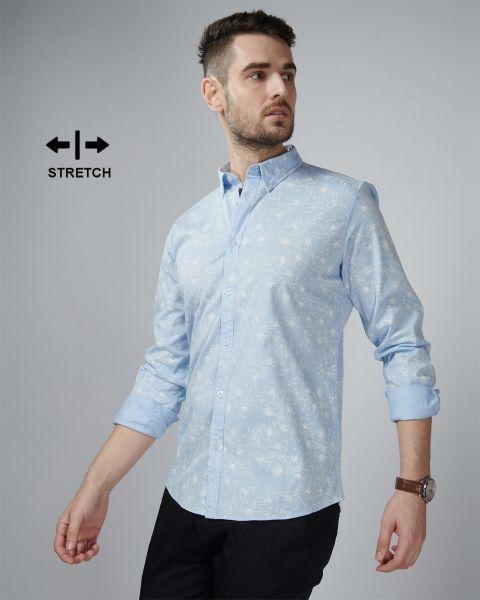 Vymag Blue Outline Floral Shirt