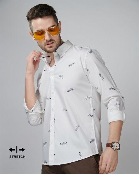 White Stretch Biker Shirt Vymag