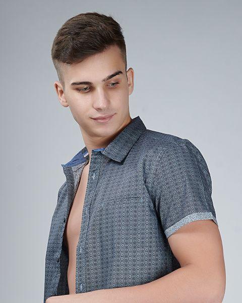 Grey Printed Short Sleeve Shirt